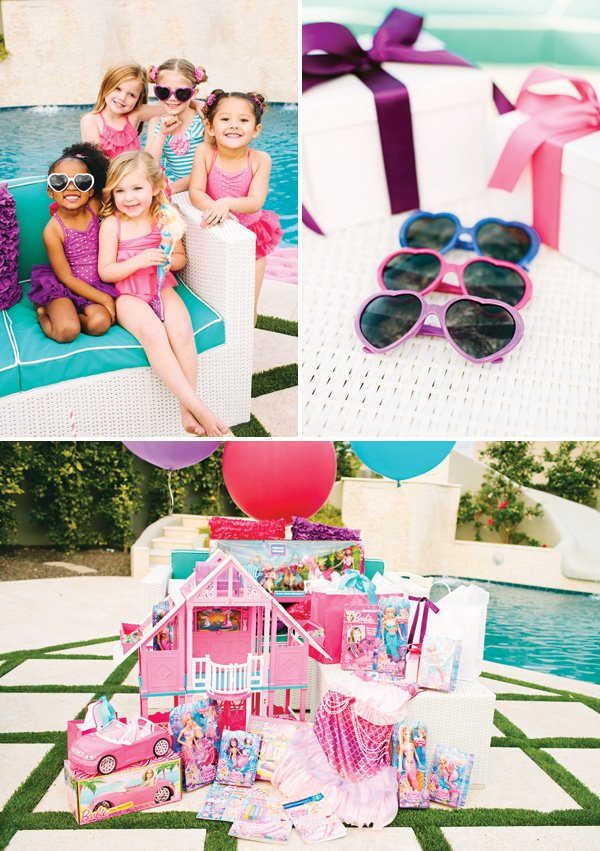 little girl's barbie pool party and presents
