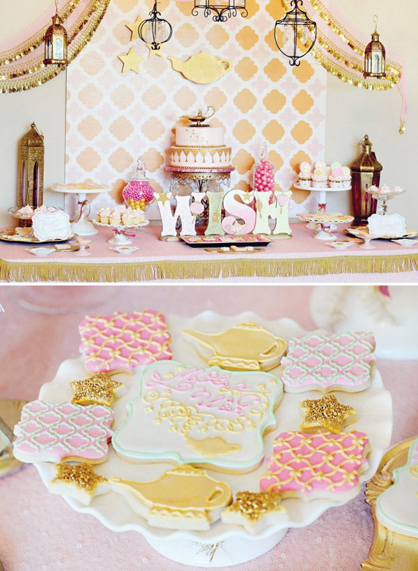make a wish pink and gold dessert table