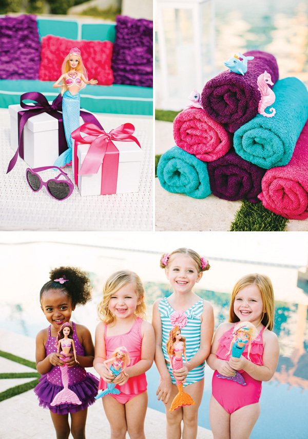 mermaid barbie pool party favors and ideas