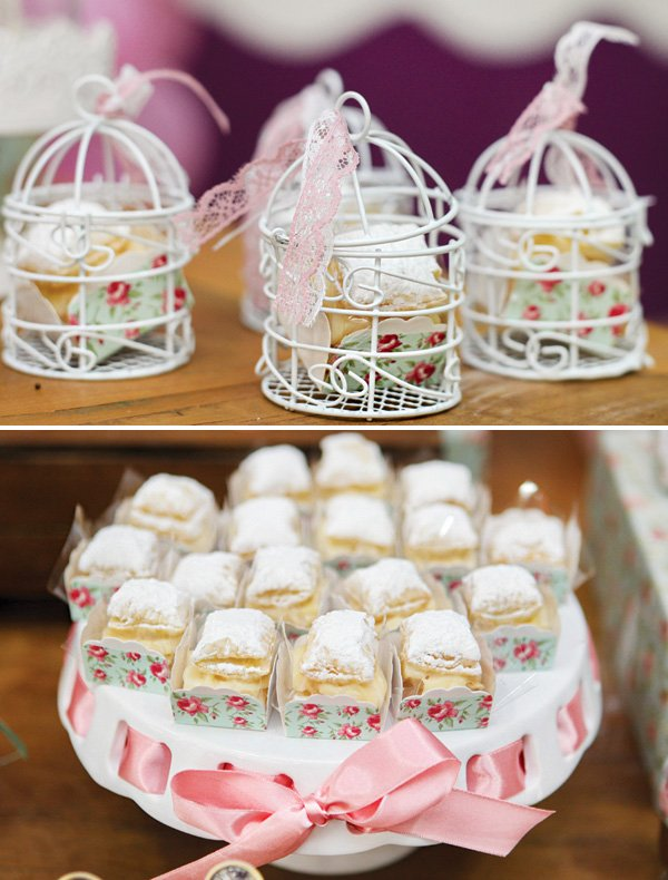mini birdcages filled with bite-sized desserts