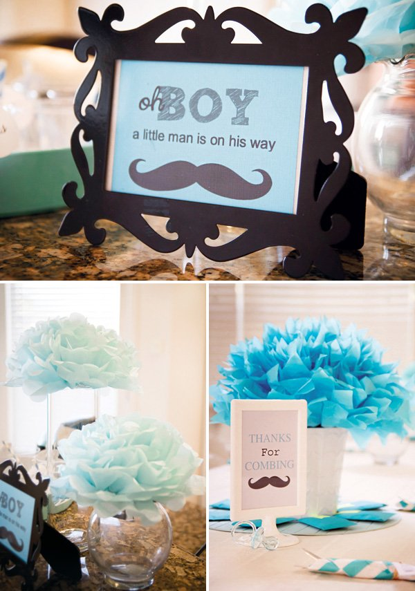 mustache and baby carriage topped cupcakes nautical flag toppers