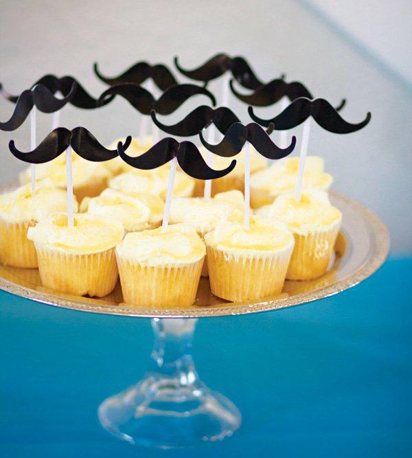 mustache topped cupcakes