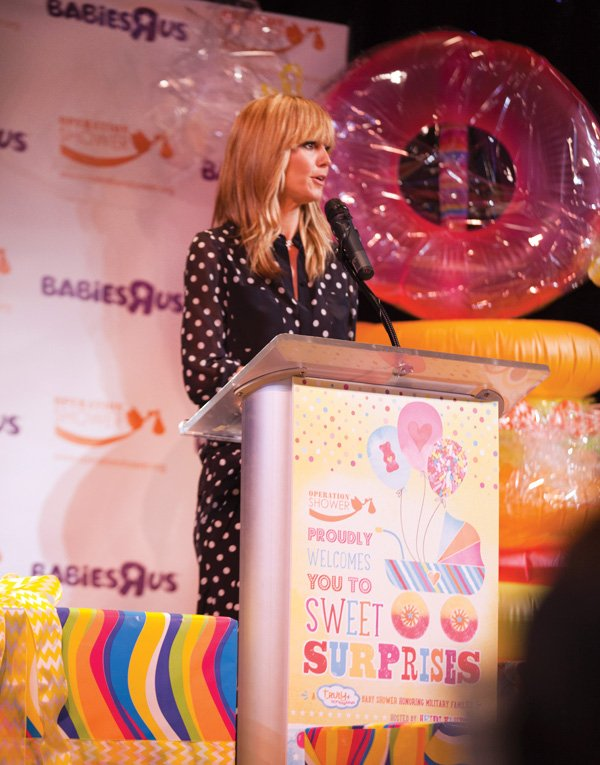 Heidi Klum speaking at Operation Shower's Sweet Surprises Event