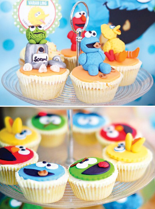 oscar the grouch and big bird cupcakes