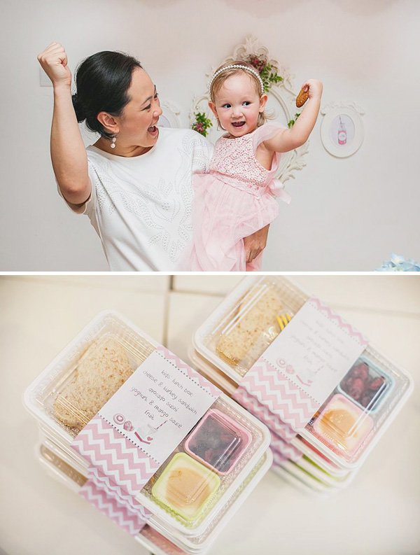 kid's food filled lunch boxes for a birthday party