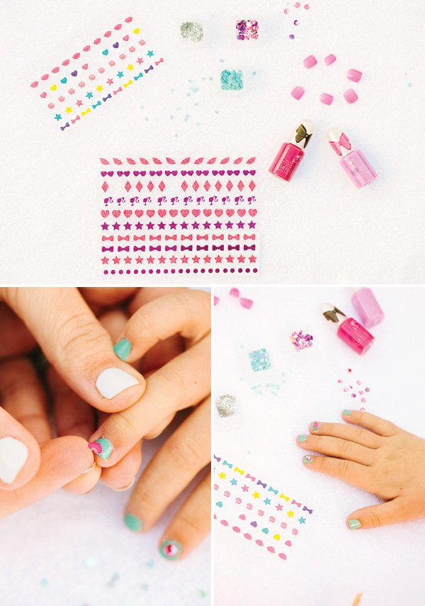 manicure party activity with nail stickers and polish