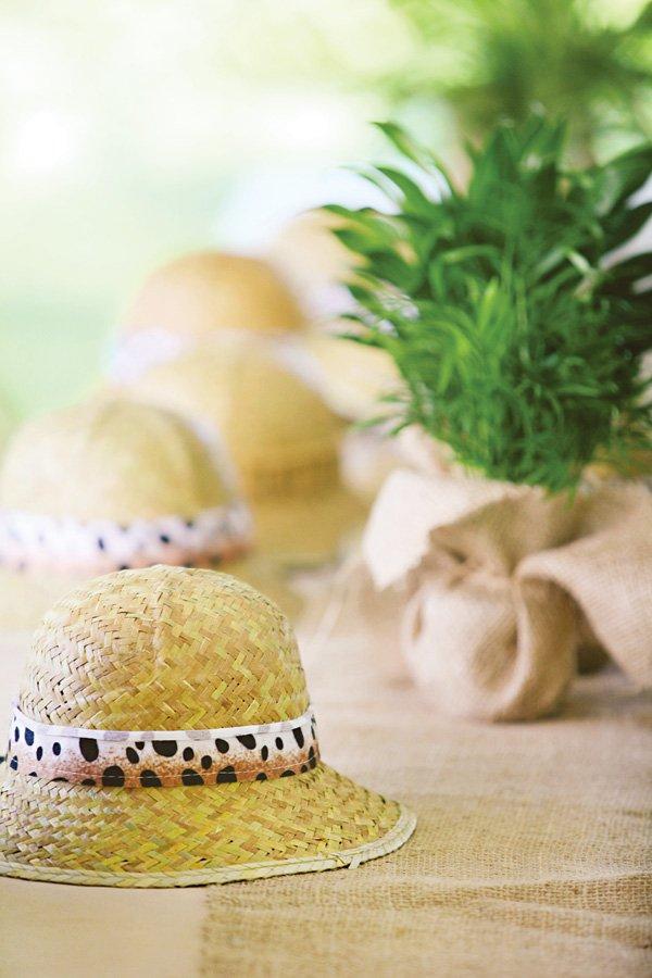 birthday party safari straw hats