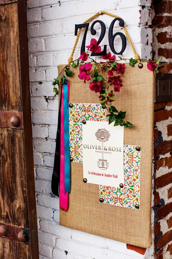 rustic burlap and flowers party welcome sign