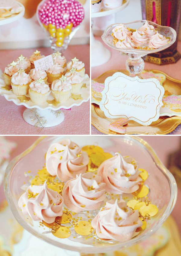 pink and gold party cupcakes and meringue desserts