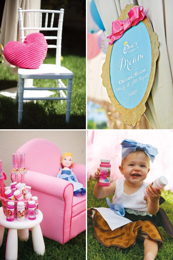 pink cinderella birthday party decor and bubble party favors