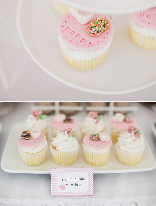 pink cookie and sprinkle topped cupcakes