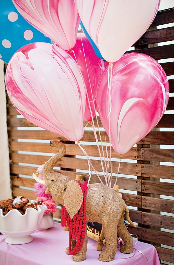pink tie dye balloons and burlap elephant party decor