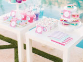 pink and blue girly under the sea mermaid desserts table