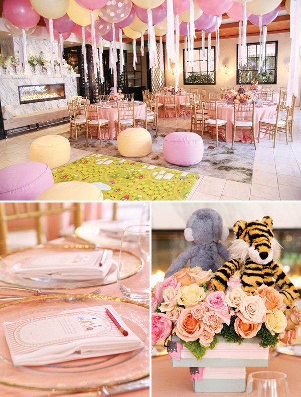pink girly first birthday tablescapes