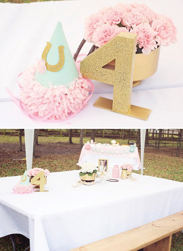 pink and gold birthday party tablescape and centerpiece ideas