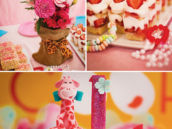pink party decor and desserts