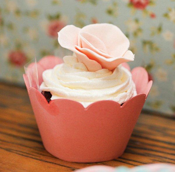 pink rose topped cupcake