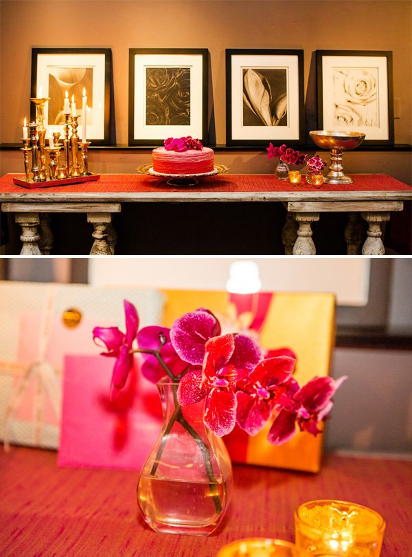 pink orchids and cake for a vintage tuscan dinner party
