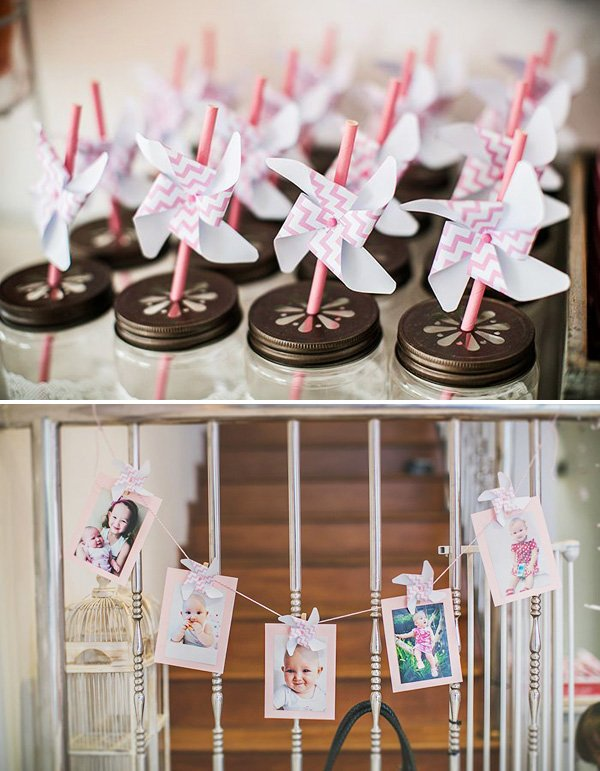 pinwheel party straws and photo garland