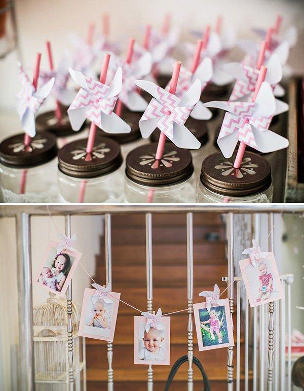 pinwheel party straws and photo garland