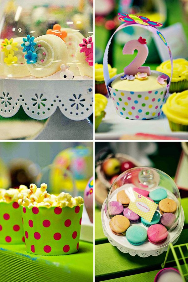 polka dot cupcake wrappers and colorful macarons