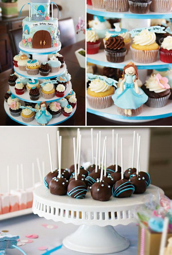 princess cupcakes and cake stand and cinderella cake pops