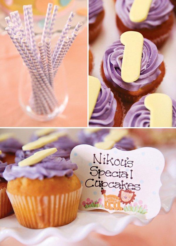 purple '1' birthday party cupcakes