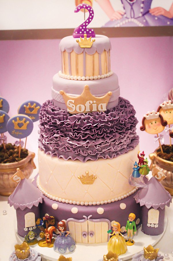 purple ruffles sofia the first second birthday cake