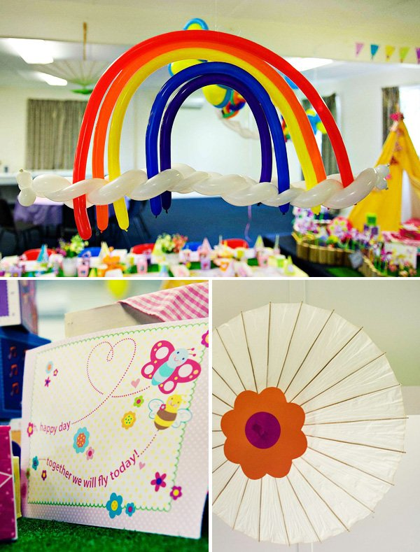 rainbow balloon party sculpture