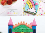 rainbow birthday party ideas with a rainbow castle bounce house and DIY cookie painting