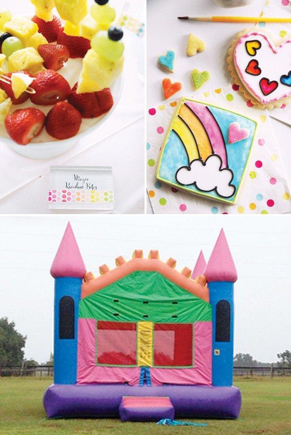 rainbow birthday party ideas with a rainbow castle bounce house and DIY cookie painting