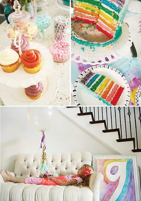 rainbow layer birthday cake and pastel desserts