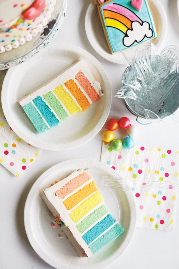 rainbow layer birthday cake