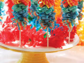 rainbow sour belt candy skewers