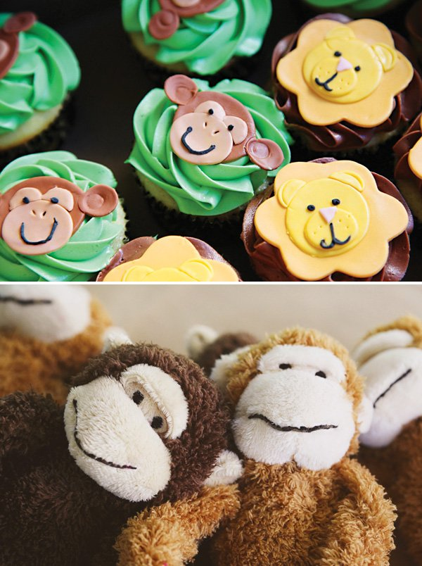 safari spider monkey cupcakes