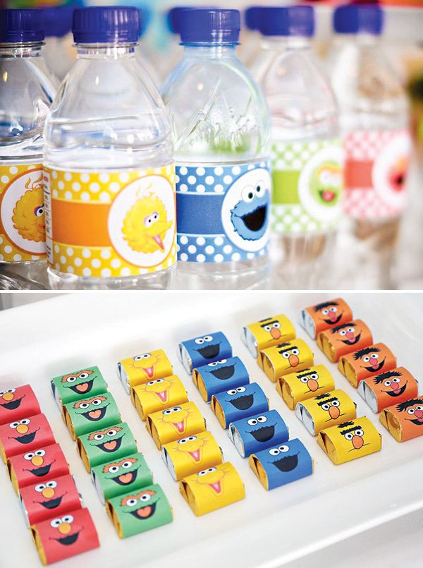 sesame street candy and bottle wrappers