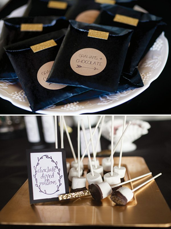 homemade s'mores making party kits with marshmallow skewers and homemade graham crackers