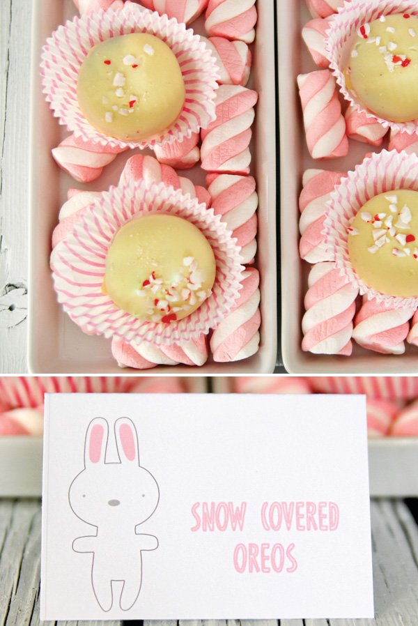 snow peppermint and white chocolate covered Oreos