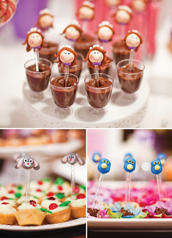sofia the first bird and rabbit fondant candy toppers
