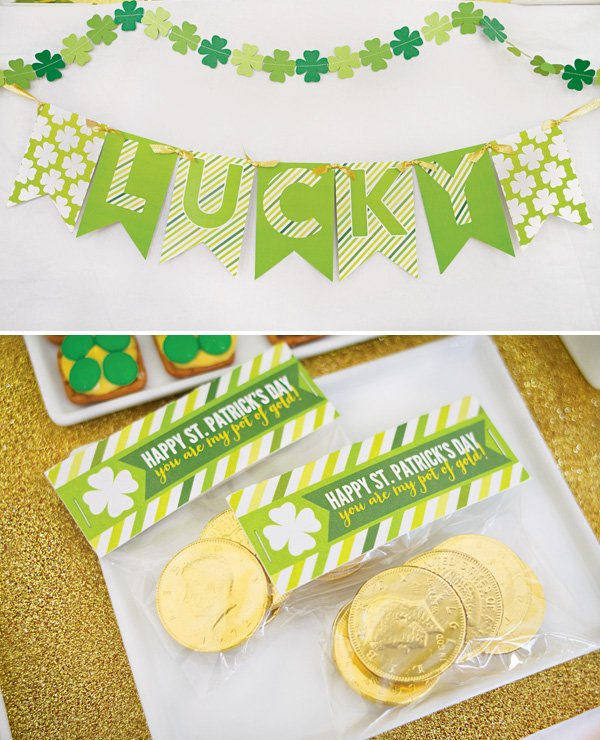 st. patrick's day banner and gold coins