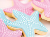pink and blue starfish cookies