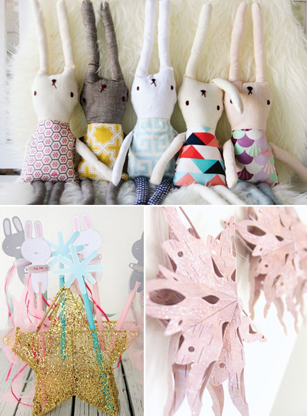 baby's stuffed bunny party decor