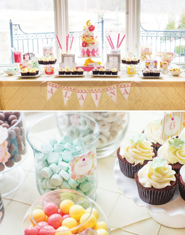 styled birthday party sweets table
