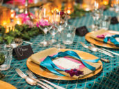teal and gold formal place setting and tablescape