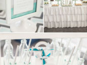 teal and silver christening decor