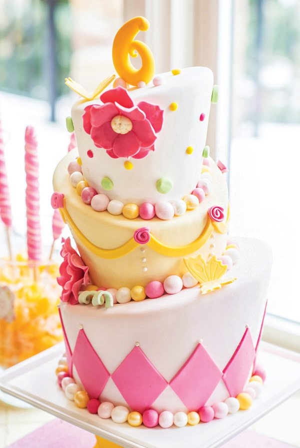 topsy turvy pink and yellow birthday cake