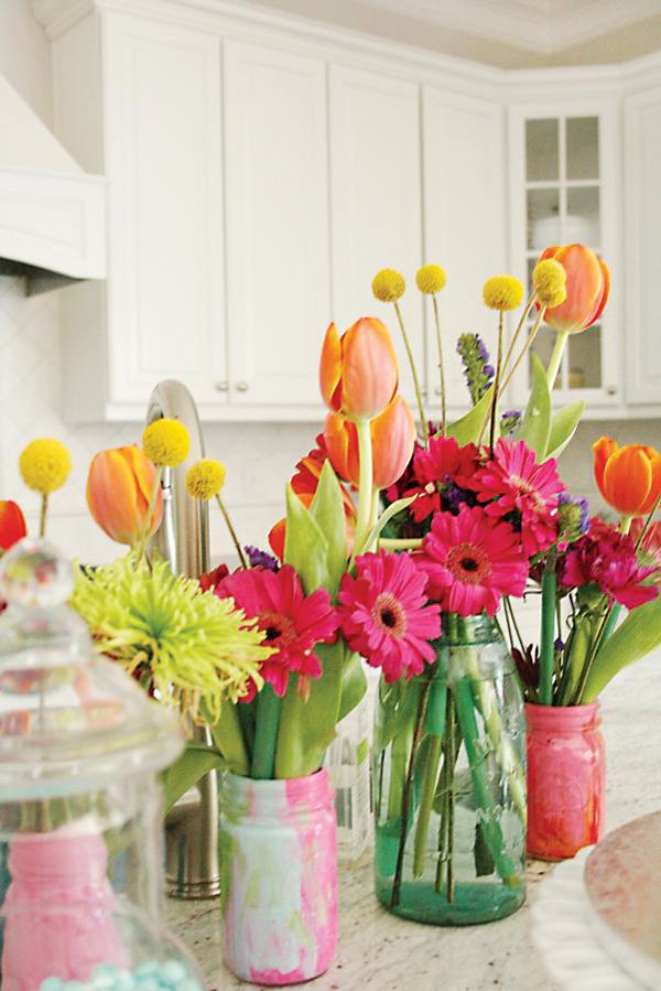 tulip and gerber daisy bright floral arrangements