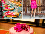 pink, teal and gold vintage tuscan 40th birthday party theme