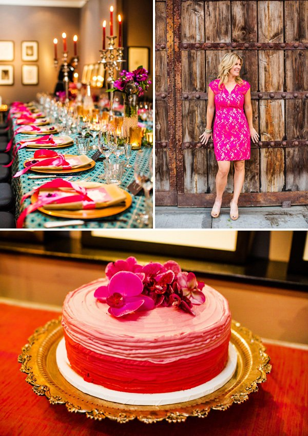 Pink Teal And Gold Vintage Tuscan 40th Birthday Party Theme