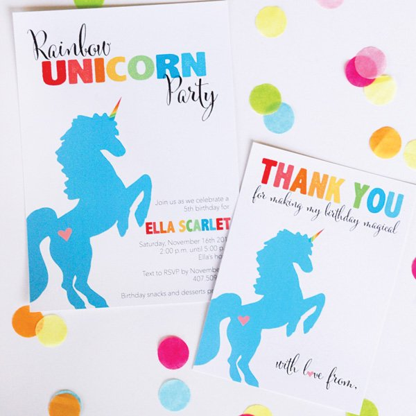 unicorn rainbow party invitation and thank you cards